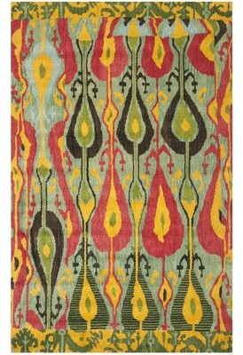 Safavieh Ikat Hand-Tufted Green/Red/Yellow Area Rug