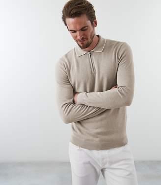 Reiss GOLDMIRE Half Zip Polo Shirt Oatmeal