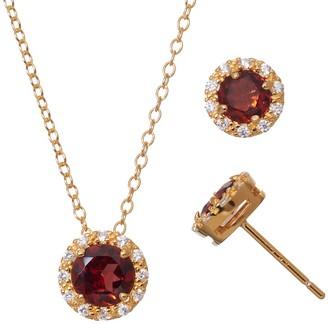Garnet & Cubic Zirconia 18k Gold Over Silver Halo Pendant Necklace & Stud Earring Set