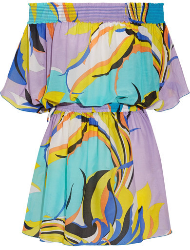 Emilio Pucci - Fiore Maya Off-the-shoulder Printed Cotton And Silk-blend Voile Mini Dress - Turquoise
