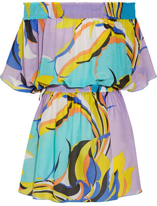 Emilio Pucci - Fiore Maya Off-the-shoulder Printed Cotton And Silk-blend Voile Mini Dress - Turquoise $930 thestylecure.com