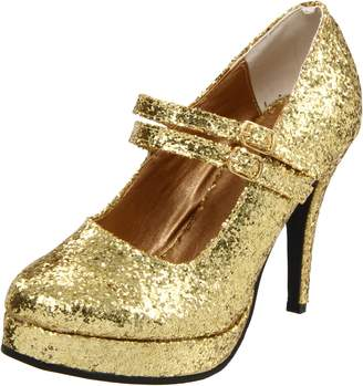"Ellie Shoes E-421-Jane-G 4"" Double Strap Glitter Mary Jane."