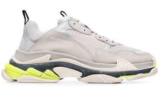 Balenciaga Grey and fluorescent Triple S sneakers