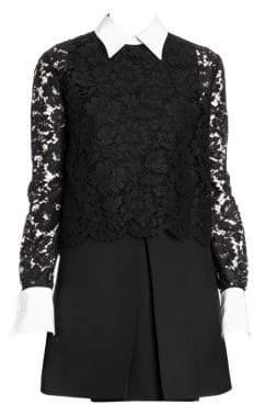 Valentino Collared Lace Dress