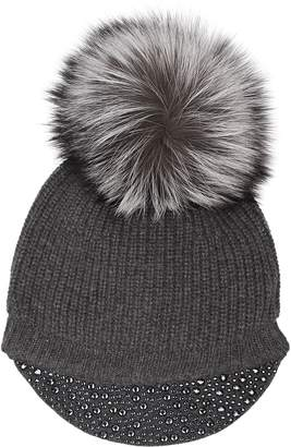 William Sharp Fox Fur Pom Pom Hat