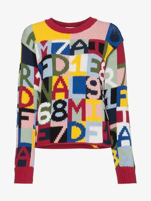 Frame letter intarsia cotton blend sweater