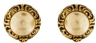 Chanel Faux Pearl Clip On Earrings