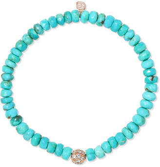 Sydney Evan 14-karat Gold, Turquoise And Diamond Bracelet