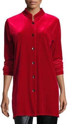 Caroline Rose Mandarin-Collar Velvet Shirt, Petite
