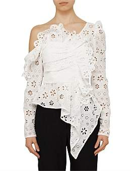 Self-Portrait Asymmetric White Circle Floral Broderie Top