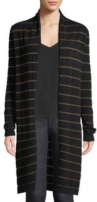 Neiman Marcus Cashmere Metallic-Striped Duster Sweater