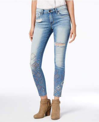 STS Blue Emma Mid Rise Raw-Hem Embroidered Skinny Jeans