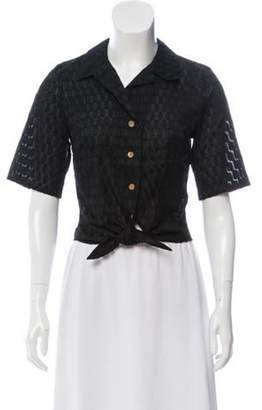 Lena Hoschek Collared Short Sleeve Top Black Collared Short Sleeve Top
