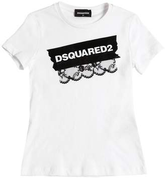 DSQUARED2 Logo Print Cotton Jersey T-Shirt W/ Lace