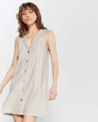 Lush Natural & Grey Striped Sleeveless Shirtdress