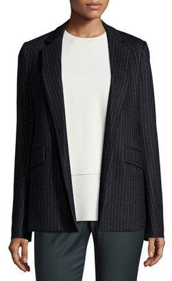Theory Sedeia LSK Melbourne Pinstripe Open-Front Blazer, Black $495 thestylecure.com