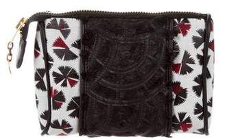 Mayle Leather-Trim Canvas Pouch