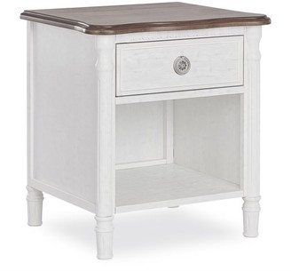 Evolur Julienne Night Stand - Toffee And Brush White