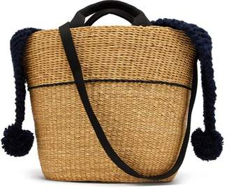 Muun Geraldine Wool And Woven Straw Bag - Womens - Navy