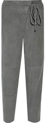 Tibi Wrap-Effect Suede Straight-Leg Pants