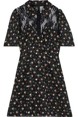 Anna Sui Lace-paneled Floral-print Fil Coupe Mini Shirt Dress