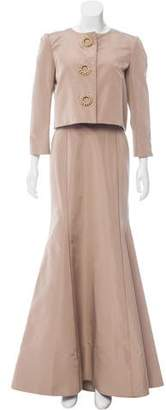 Oscar de la Renta Silk Evening Dress Set
