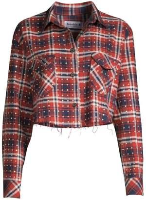 Frankie B. Rhinestone Flannel Plaid Button-Down