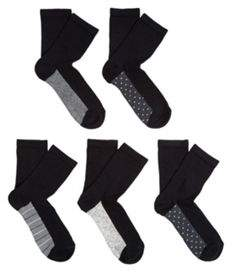 F&F 5 Pair Pack Of Monochrome Sole Ankle Socks One Size