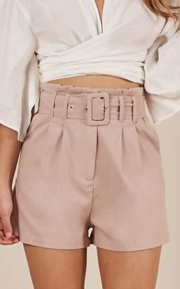 Showpo Summer Tinge Shorts in blush linen look Shorts