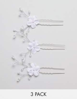 Asos Design DESIGN Bridal Pack Of 3 Floral Crystal Bead Hair Clips