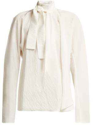 Lemaire Neck Tie Silk Blend Blouse - Womens - Ivory