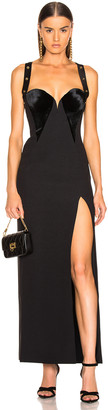 Versace Crossback Bustier Gown in Black | FWRD