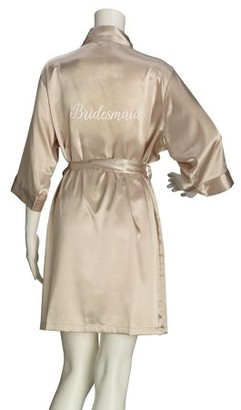 Lillian Rose Champagne Satin Bridesmaid Robe (L/XL)