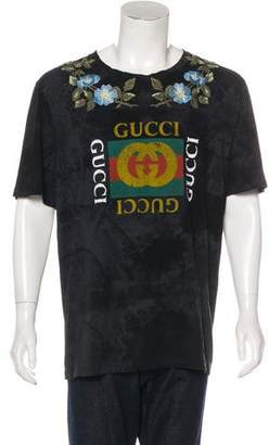 Gucci 2017 Floral-Embroidered T-Shirt