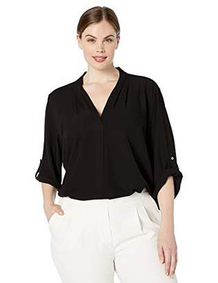 Calvin Klein Women's Plus Size Roll Sleeve Blouse with Inverted Pleat Front