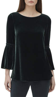 Lafayette 148 New York Roslin Bell-Sleeve Blouse in Velvet