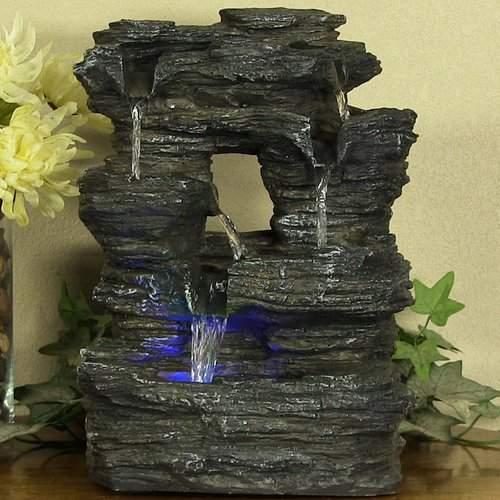 SunnyDaze Decor Fiberglass 5 Stream Rock Cavern Tabletop Fountain with Light