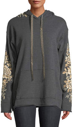Johnny Was Plus Size Ollena Embroidered Pullover Hoodie Sweatshirt