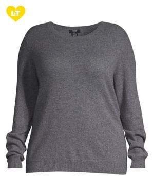 Lord & Taylor Plus Essential Cashmere Crewneck Sweater
