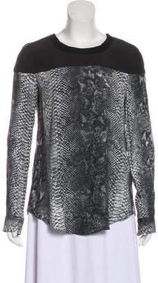 Rebecca Taylor Snakeskin Print Long Sleeve Blouse