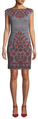 London Times Vine-Print Glen-Check Sheath Dress