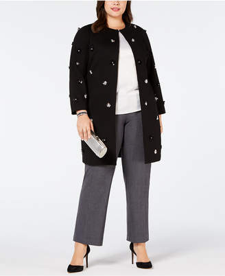 Alfani Plus Size Embellished A-Line Jacket, Created for Macy's
