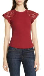 Rebecca Taylor Lace Cap Sleeve Stretch Cotton Top