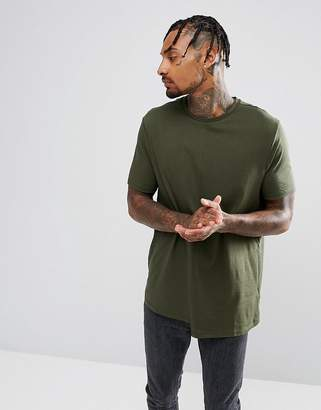 Asos DESIGN Relaxed T-Shirt With Rib Cuff And Stepped Hem