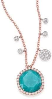 Meira T Amazonite, Diamond& 14K Rose Gold Pendant Necklace