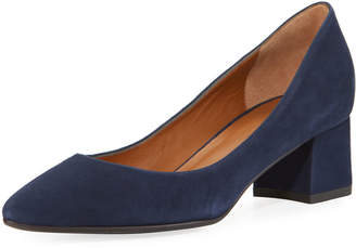Aquatalia Phoebe Suede 45mm Block-Heel Pump
