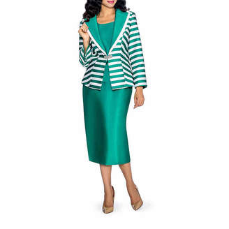 GIOVANNA COLLECTION Giovanna Collection Women's Stripe and Solid Layered Collar 3-Piece Skirt Suit
