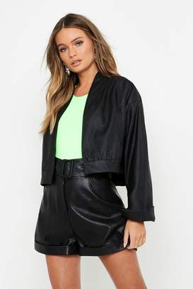 boohoo Crop Faux Leather Jacket
