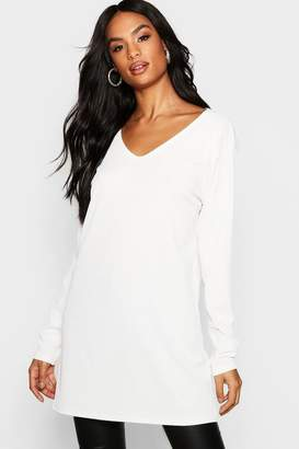 boohoo Tall Long Sleeve V Neck Rib T-Shirt