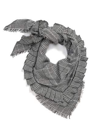 BP Ruffle Plaid Triangle Scarf